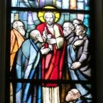Predicazione, Trento Longaretti, vetrata istoriata 1996