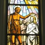 Battesimo di Gesu, Trento Longaretti, vetrata istoriata, 1996